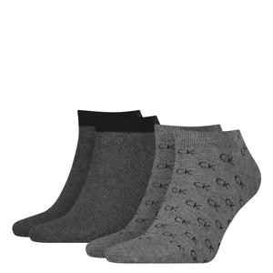 CALVIN KLEIN - 2PACK Eduardo sivé členkové ponožky s logom CK-39-42