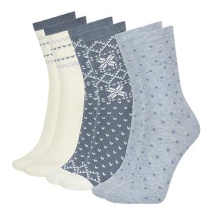 CALVIN KLEIN - 3PACK fair isle blue combo ponožky v darčekovom balení-UNI