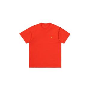 Carhartt WIP S/S Chase T-Shirt Safety Orange / Gold oranžové I026391_0G0_90 - vyskúšajte osobne v obchode