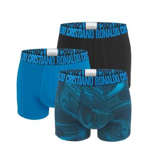 CRISTIANO RONALDO CR7 - 3PACK black & blue nature stripes boxerky z organickej bavlny-M (81-86 cm)