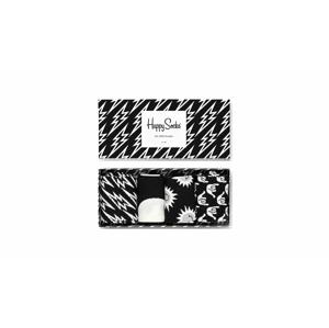 Happy Socks Black and White Gift Box 4-Pack čierne XBAW09-9100 - vyskúšajte osobne v obchode