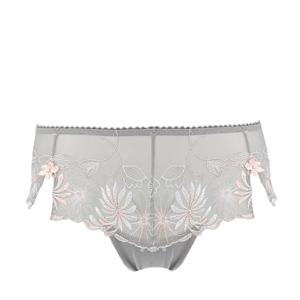POUR MOI - St.Tropez grey/pink vyšívané francúzske nohavičky-L