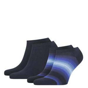 TOMMY HILFIGER - 2PACK TH little stripes navy pánske členkové ponožky-43-46