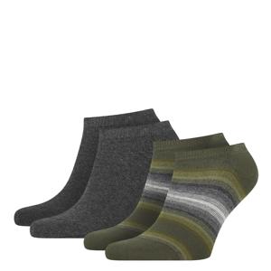 TOMMY HILFIGER - 2PACK TH little stripes olive pánske členkové ponožky-43-46