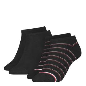 TOMMY HILFIGER - 2PACK TH stripes preppy čierne členkové ponožky-35-38